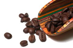 Coffee Beans. Whole coffee beans with scoop stock photos