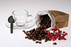 Coffee beans. Cup and coffee beans in the bag Stock Images