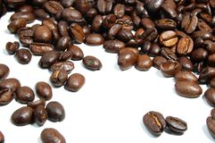 Coffee beans. A bunch of coffee beans isolated on white background Stock Image