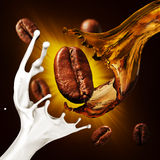 Coffee Beans And A Splash Of Coffee And Milk Royalty Free Stock Photo