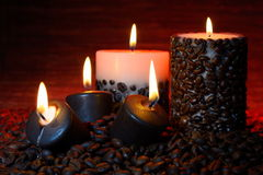 Free Coffee Beans And Burning Candles Stock Photos - 39290893