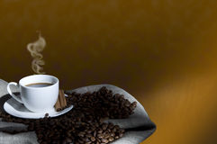 Coffee Beans And Coffee Cup, Collage Royalty Free Stock Photography