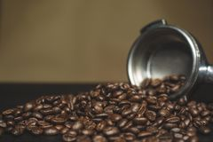 Coffee Beans And Ground Powder Stock Photography