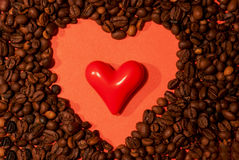 Free Coffee Beans And Red Heart Royalty Free Stock Image - 35006436