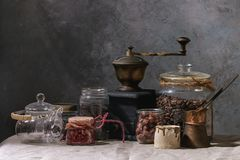 Coffee Beans And Tea In Jars Royalty Free Stock Photo