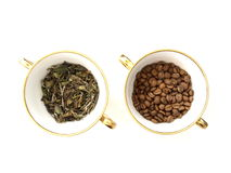 Coffee Beans And Tea Leaves Stock Photo