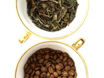 Coffee Beans And Tea Leaves Royalty Free Stock Photos