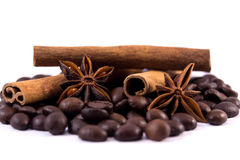 Coffee beans anise and cinnamon sticks. Isolated on white background Stock Images
