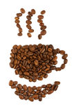 Coffee beans aranged as a cup Royalty Free Stock Photos