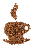 Coffee beans aranged as a cup Stock Images