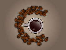 Coffee beans around coffee cup Stock Photography