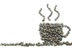 Coffee beans. Arrange as coffee cup Royalty Free Stock Photos