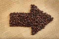 Coffee beans arrow Stock Photos