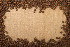 Coffee Beans As A Frame, And A Cup Of Coffee Royalty Free Stock Photography