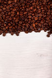Coffee beans as border on white Royalty Free Stock Photo