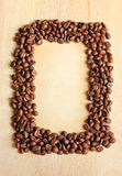 Coffee beans as frame with old paper Royalty Free Stock Photos