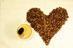 Coffee beans as heart Royalty Free Stock Photo