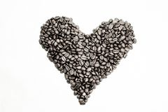 Coffee beans as heart Stock Photography
