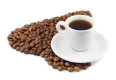 Coffee beans as a heart and cup Royalty Free Stock Photos