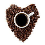 Coffee and beans as heart Stock Photo
