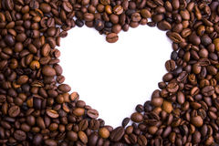 Coffee Beans Background. Heart of coffee beans. Shot in studio royalty free stock photo