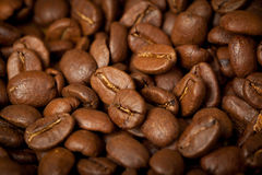 Coffee beans background, close up Stock Images