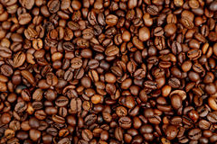 Coffee beans background. Close up Stock Photos