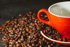 Coffee beans are the background. Royalty Free Stock Photos