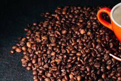 Coffee beans are the background. Stock Photos