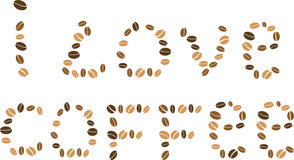 Coffee beans background with love words Stock Photos