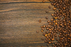 Coffee beans background. Roasted coffee. Top view. Selective focus. Place for text Stock Photos