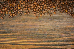 Coffee beans background. Roasted coffee. Top view. Selective focus. Place for text Royalty Free Stock Photos