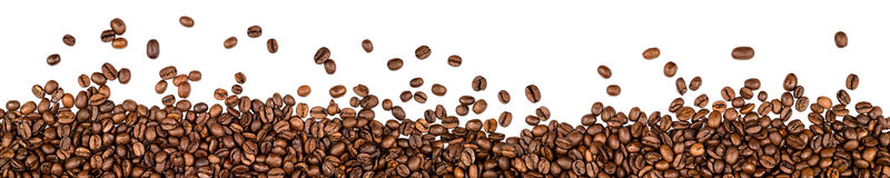 Coffee beans background. Coffee beans on white background stock image