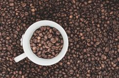 Coffee beans background with white cup Stock Photos