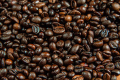 Coffee beans background. Coffee beans on a wooden table Stock Images