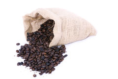 Coffee beans in the bag Stock Images