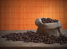 Coffee beans in bag Stock Image