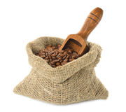 Coffee beans in a bag Royalty Free Stock Images
