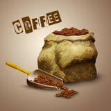 Coffee Beans Bag. Burlap bag with roasted aromatic coffee beans poster vector illustration Stock Image