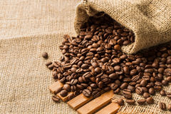 Coffee beans in a bag Stock Photos