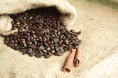 Coffee Beans in a Bag Royalty Free Stock Photos