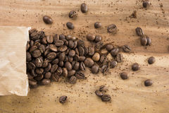 Coffee beans and bag Stock Photography