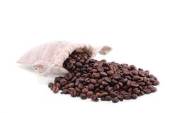 Coffee Beans in a Bag royalty free stock photography