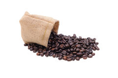 Coffee beans in bag isolated Royalty Free Stock Photo