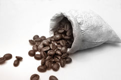 Coffee beans in bag Royalty Free Stock Image