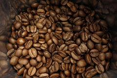 Coffee beans bag. Some coffee beans in the bag Stock Photo