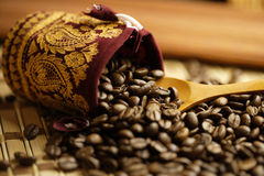 Coffee beans bag. Some coffee beans bag in the kitchen interior Stock Photo