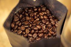Coffee beans in bag Stock Photo