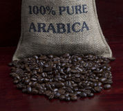 Coffee Beans in a Bag Stock Photo