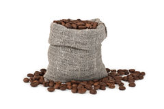 Coffee beans in a bag on a white Stock Photos